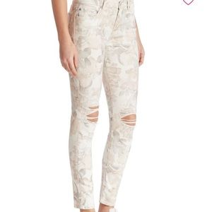 7 For All Mankind floral ankle skinny jeans 28